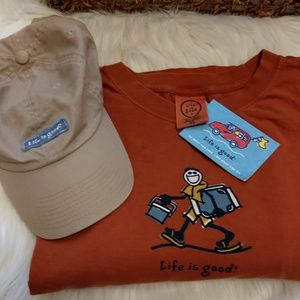 Life is Good Rust XL Shirt and Cap